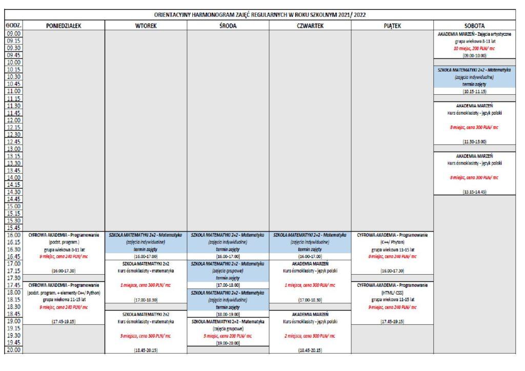 20210831 Harmonogram zajec 2021 2022 1 pdf 1024x724 - Harmonogram zajęć Akademii Marzeń